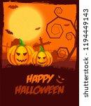 vintage style happy halloween...   Shutterstock .eps vector #1194449143