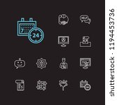 customer service icons set. 24... | Shutterstock . vector #1194453736