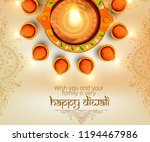 illustration of happy diwali ... | Shutterstock .eps vector #1194467986