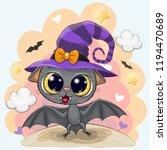 cute cartoon bat in a halloween ... | Shutterstock .eps vector #1194470689