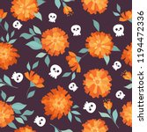 marigold and skull. seamless... | Shutterstock .eps vector #1194472336