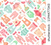 baby clothes seamless pattern... | Shutterstock .eps vector #1194477343