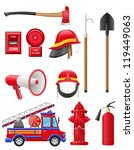 Set Icons Of Firefighting...