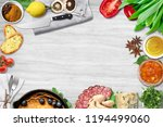 top view of table top with... | Shutterstock . vector #1194499060