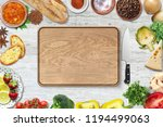 top view of chopping board and... | Shutterstock . vector #1194499063