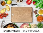 top view of chopping board and... | Shutterstock . vector #1194499066