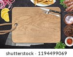 top view of chopping board and... | Shutterstock . vector #1194499069