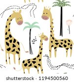 childish jungle texture with... | Shutterstock .eps vector #1194500560