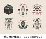 set of vintage snowboarding ... | Shutterstock . vector #1194509926