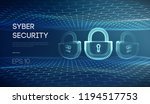 cyber lock security vector... | Shutterstock .eps vector #1194517753