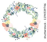 wreath of vintage flowers on a... | Shutterstock .eps vector #1194539746