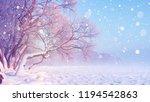 winter landscape in snowfall.... | Shutterstock . vector #1194542863