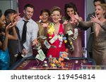 people throwing chips and cash... | Shutterstock . vector #119454814