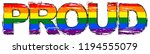 word proud with rainbow flag ... | Shutterstock .eps vector #1194555079