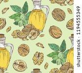 seamless pattern with walnut... | Shutterstock .eps vector #1194555349