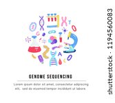 hand drawn genome sequencing... | Shutterstock .eps vector #1194560083