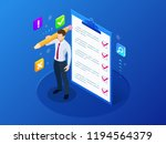 isometric businessman with... | Shutterstock .eps vector #1194564379
