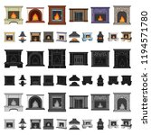 different kinds of fireplaces... | Shutterstock .eps vector #1194571780