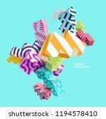 3d multicolored primitive forms | Shutterstock .eps vector #1194578410