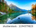 autumn sunrise of hintersee... | Shutterstock . vector #1194579823