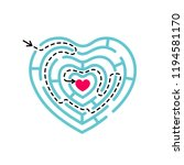 heart shape maze with logic... | Shutterstock .eps vector #1194581170