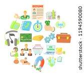 debit card icons set. cartoon...   Shutterstock .eps vector #1194590080