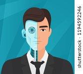 half cyborg  half human man... | Shutterstock .eps vector #1194592246