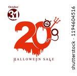 halloween sale. vector banner...   Shutterstock .eps vector #1194604516