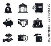 bank deposit icon set. simple... | Shutterstock . vector #1194646510
