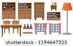 set of home furniture... | Shutterstock .eps vector #1194647323