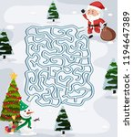 christmas maze puzzle game... | Shutterstock .eps vector #1194647389