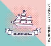 happy columbus day vector with... | Shutterstock .eps vector #1194648109