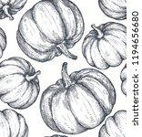 vector hand drawn pumpkin... | Shutterstock .eps vector #1194656680