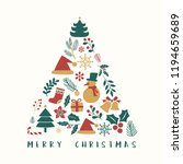 christmas greeting badge vector | Shutterstock .eps vector #1194659689