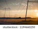 silhouette of a power lines...   Shutterstock . vector #1194660250