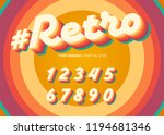 Stock vector vector retro alphabet design vintage d typeface with colorful rainbow layers decorative numbers 1194681346