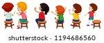 children sitting on chairs ...   Shutterstock .eps vector #1194686560