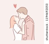 lovely couple kiss. hand drawn... | Shutterstock .eps vector #1194692053
