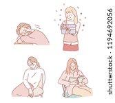 various girl's poses set. hand... | Shutterstock .eps vector #1194692056