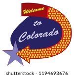 road sign welcome to colorado ... | Shutterstock .eps vector #1194693676