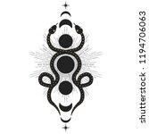 two snakes  sun  moon  stars.... | Shutterstock .eps vector #1194706063