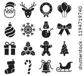 christmas icons set. vector... | Shutterstock .eps vector #1194719740