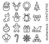 christmas icons set. vector... | Shutterstock .eps vector #1194719743