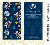 set of 2 cards  abstract floral ... | Shutterstock .eps vector #1194723793
