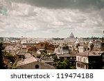 rome rooftops with vatican city ...   Shutterstock . vector #119474188