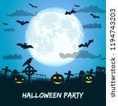 halloween party with huge... | Shutterstock .eps vector #1194743203