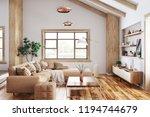modern interior of living room... | Shutterstock . vector #1194744679