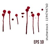 vector red ink stain  blots and ... | Shutterstock .eps vector #1194744760