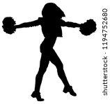 black silhouette of girl... | Shutterstock .eps vector #1194752680