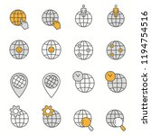 globe flat line icons. set of... | Shutterstock .eps vector #1194754516
